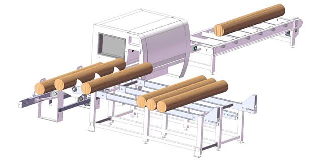 我公司研发生产的自动圆木多片锯生产线下线